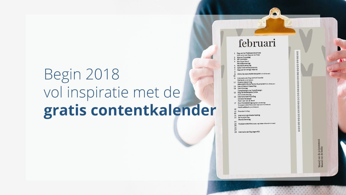 Gratis contentkalender 2018 voor al je marketingdoeleinden