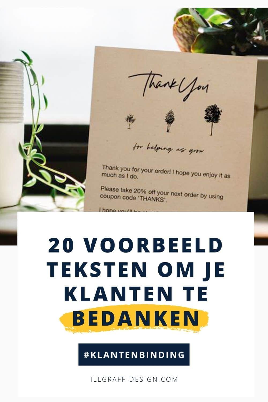 Voorbeeld tekst voor op het bedankkaartje om je klanten te bedanken